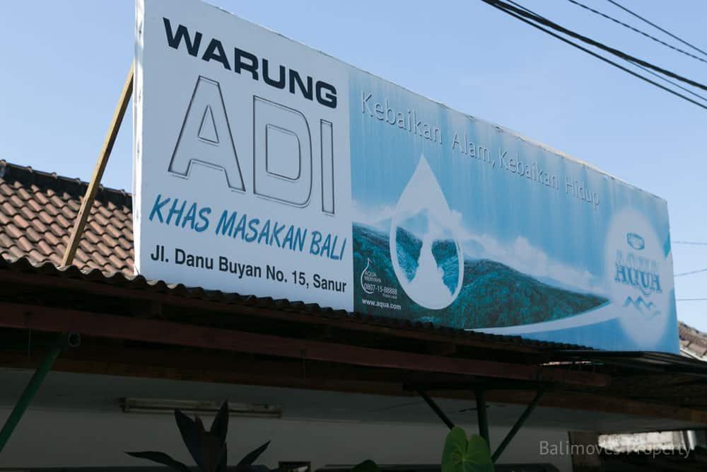 Warung Adi Sanur Sign